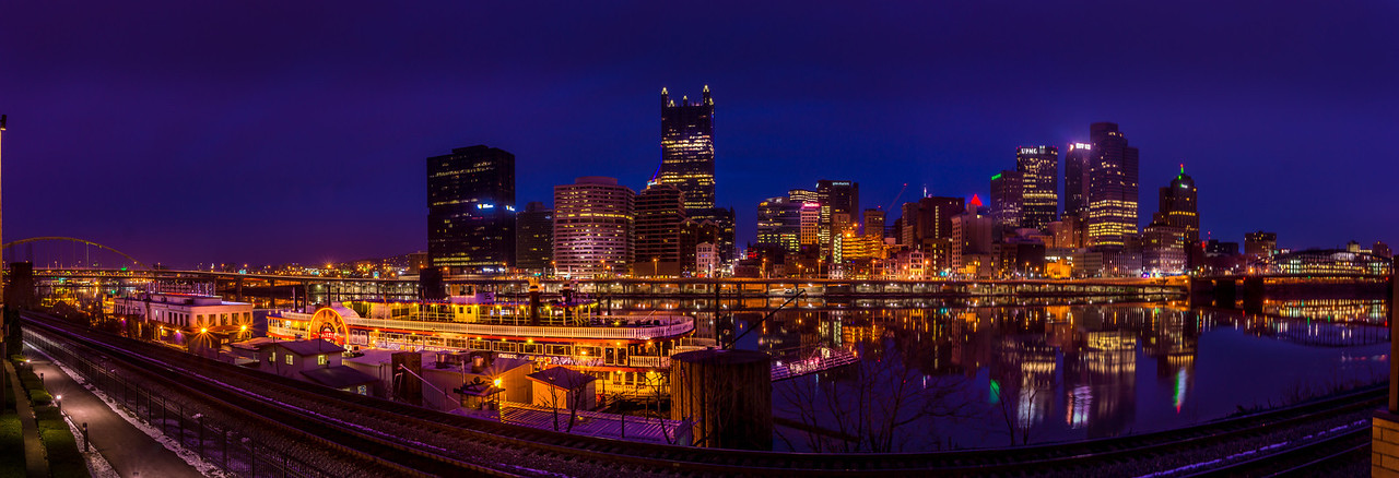 Pittsburg Skyline Panorama across the Monogahela River near Station Square
