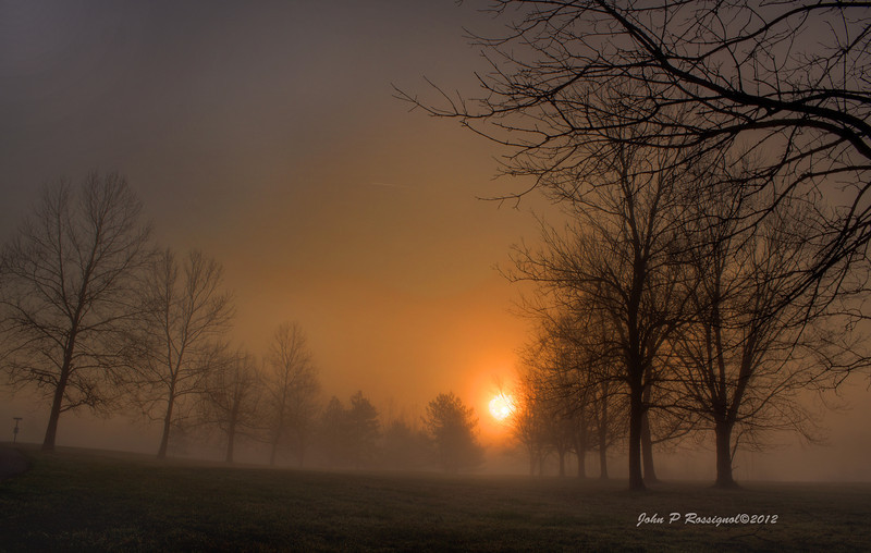 Sunrise through the fog at Infirmary Mound Park Granville OH